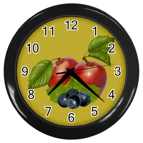 Apples & Berries Custom Black Wall Clock