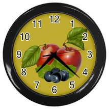 Apples & Berries Custom Black Wall Clock - $19.95