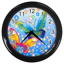 Butterflies Custom Black Wall Clock - $19.95