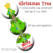 Christmas Tree Ornament Bottle Cap Digital Images 1 Inch Circle Collage JPG - $2.00