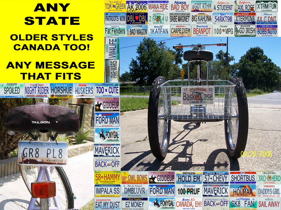 Custom personalized state bicycle license plate