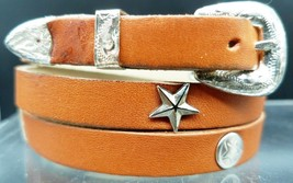 New Tan Hatband Leather w/Silver Star & Rectangle Conchos & Buckle Set Hat Band - $18.23