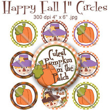 "Fall Bottle Cap Digital Images 1"" Circle Cutest... - $2.00"