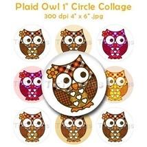 Fall Plaid Owl Bottle Cap Images Digital Art Collage Set 1 Inch Circle S... - $2.00
