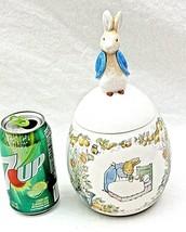 Beatrix Potter Easter Egg Peter Rabbit Ceramic Candy Jar Canister 1996 V... - $39.59