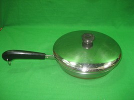 "Vintage Revere Ware 9"" Stainless Steel Copper Bottom Sauce Pan & Lid - $15.85"