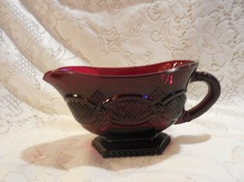 "Avon 1876 Ruby Red Cape Cod:   5 3/8"" Footed Sauce Sauce Gravy Boat - $13.85"