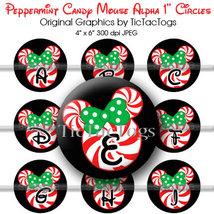 Peppermint Candy Christmas Mouse Alphabet Alpha Bottle Cap Digital Image... - $2.00