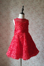 RED Flower Girl Wedding Dress Lace Bead Tea Length Red Wedding Dresses 4-16 image 5