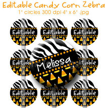 Editable - Wild Halloween Zebra Candy Corn Collage Bottle Cap Digital 1 ... - $3.00