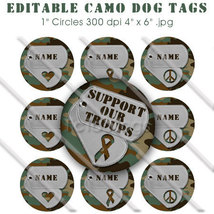 Editable - Camo Dog Tag Bottle Cap Collage Digital Set 1 Inch Circle Mil... - $3.00