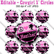 Editable - Peace Heart Cowgirl Bottle Cap Colla... - $3.00
