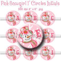 Pink Snowgirl Alphabet Bottle Cap Digital Image... - $2.00