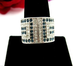 BLUE & Clear RHINESTONE  RING Vintage Wide FRONT Silvertone Band Size 10.25 - $16.99