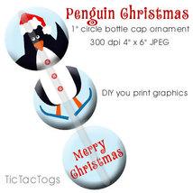 Santa Penguin Christmas Ornament Bottle Cap Dig... - $2.00