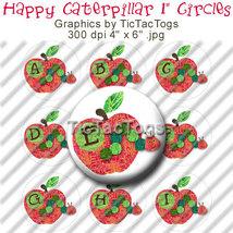 Happy Caterpillar Bottle Cap Images Digital 1 Inch Circle Alphabet Alpha... - $2.00