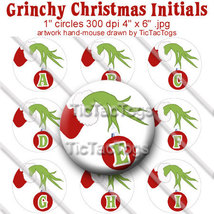Grinchy Christmas Bottle Cap Digital Images Set 1 Inch Circle Alphabet A... - $2.00
