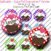 Editable - Colorful Cupcake Polkadot Bottle Cap Collage Digital Images 1... - $3.00