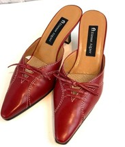 Etienne Aigner Vodka Red Leather Mules Slip on Closed Toes Ties Career Casual 8m - $22.21