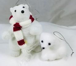 2 Flocked Polar Bear Christmas Holiday Ornaments Arctic White Adult & Baby - $11.64