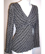Dressbarn Top S Black White Chain Link Print Twist Bust Shirt Blouse Wom... - $16.85