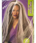 "Adult Witch Wig Perrugues Silver Steak Black 24 "" Long Halloween Costume... - $8.96"