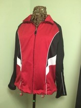 Coldwater Creek Petite PL black Red White  zip-front track jacket, stretch - $9.90