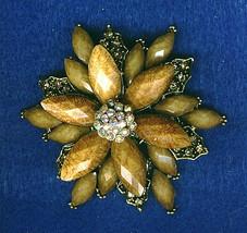 Vintage Flower Carved Bakelite And Rainbow Rhinestones Brooch Pin - $19.99
