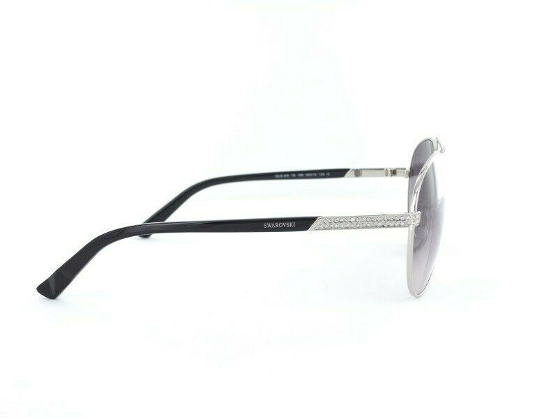 Swarovski SW78 16B Shiny Palladium Gradient Gray Lens Womens Sunglasses
