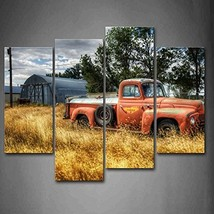 Old Truck in Red Trees and Dry Grasses in Field Car Wall Art Painting Pictures P