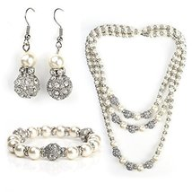 UNITED ELEGANCE Faux Pearl & Crystal Set, 3-Strand Necklace, Earrings & ... - $79.99
