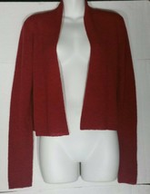 Eileen Fisher Simple Cardigan Sweater Small S Red Crop Open Front NWT - $98.99