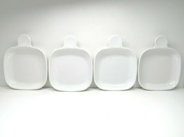 4 Corning Ware White Square Grab It Handle Snack Appetizer Tray Plates P... - $28.38