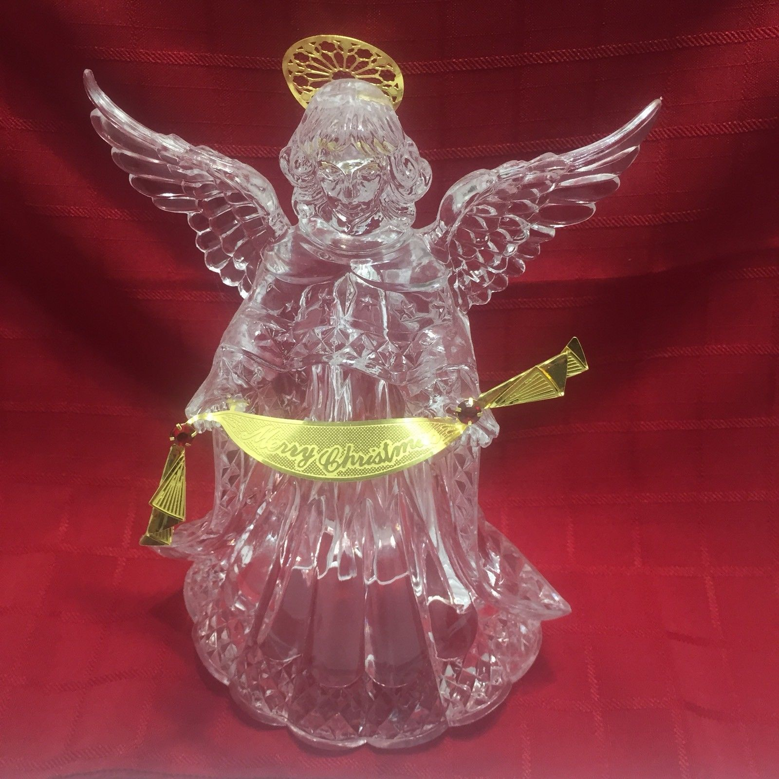 Christmas Angel Tree Topper Clear Gold Halo Banner 8 Inch