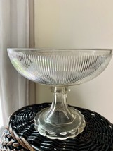 """Clear EAPG Pattern Glass Fine Rib Top Open Compote 8"""" - $39.59"""
