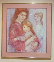 "Vintage Edna Hibel ""Mother & Children"" Lithographic Poster Art Print - $259.99"