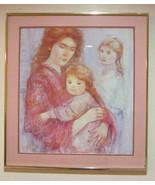 """Vintage Edna Hibel """"Mother & Children"""" Lithographic Poster Art Print - $199.99"""