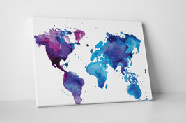 "Painted World Map Gallery Wrapped Canvas Print. 30""x20"" or 20""x16"" - $42.52+"