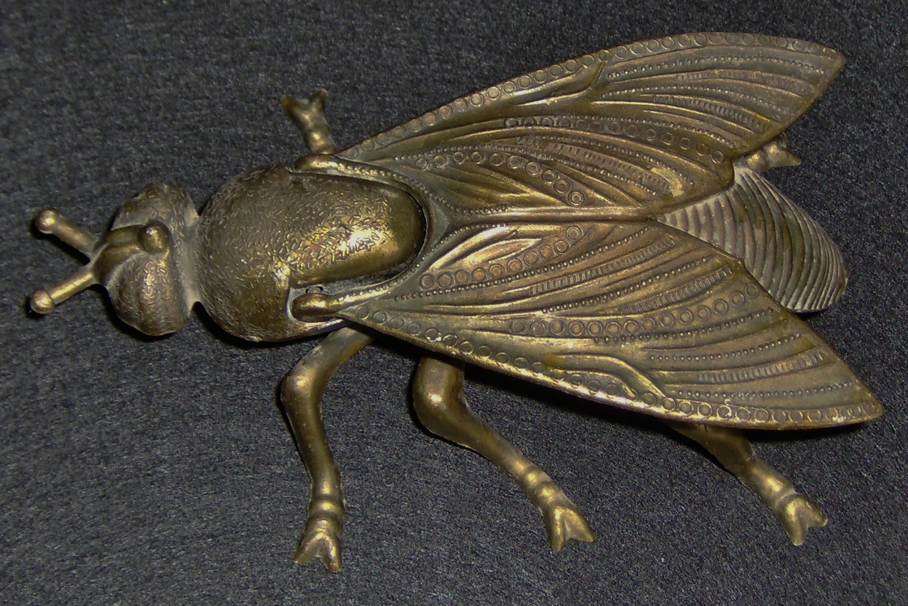 Antique Brass Ashtray / Fly