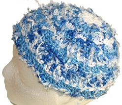 Blue Crochet Beanie Hat with white dangles - $11.80