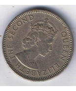 1959 British Caribbean Territories 25 Cent - 1st Portrait Queen Elizabet... - £2.33 GBP