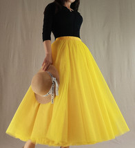A Line RED Tulle Skirt with Pockets Women High Waist Tulle Skirt Red Party Skirt image 4