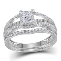 10kt White Gold Princess Diamond Elevated Bridal Wedding Engagement Ring Set - $890.64