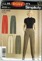 Simplicity Sewing Pattern 4939 Misses Pants Size 10-22 - $8.99