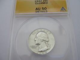 Washington Quarter , 1942 , AU-50 , ANACS Certified , Cleaned  - $15.00
