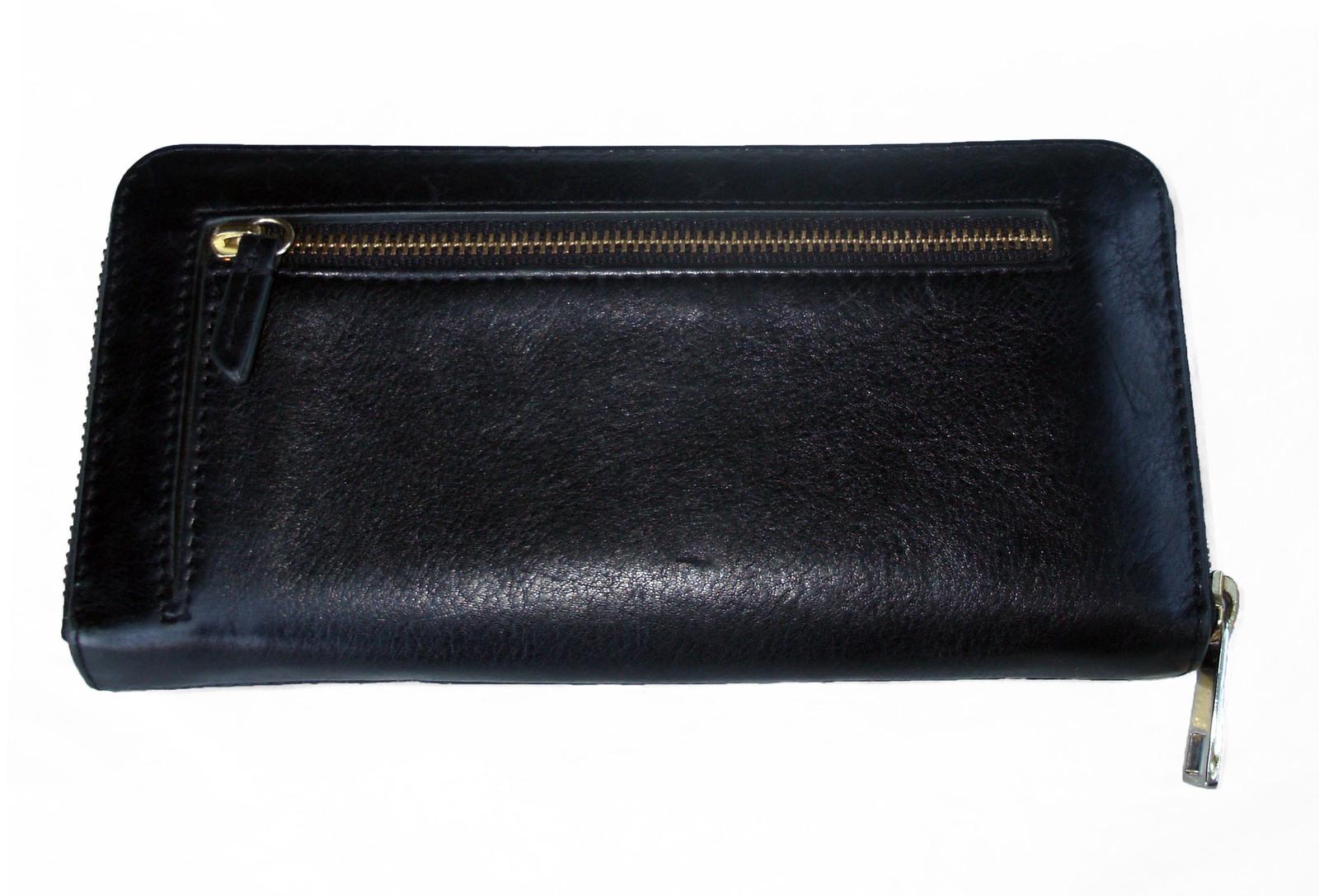 Fossil Leather Clutch Wallet Black Ziparound Accordion Organizer