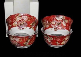 4 222 Fifth GABRIELLE RED Floral Jacobean Deep Cereal Bowls Scalloped Edges NIB - $44.99