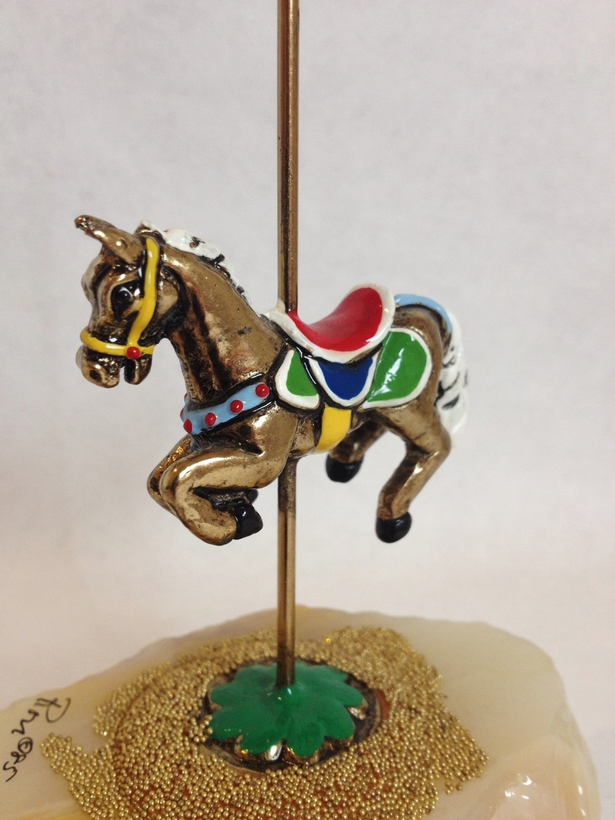 Ron Lee Carousel Horse Onyx Base Gold Bead Painted Signed Figurine Collectible