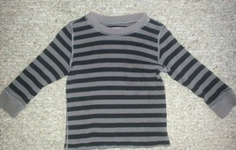 The Children's Place Black And Gray Striped Thermal Waffle Weave Top Boys Size 3 - $2.88