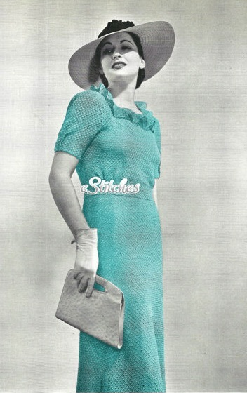 1930s Frock or Dress Square Neck Ruffle, Flared Skirt Crochet pattern (PDF 1094)